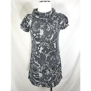 Ruby Rox Black Gray Cowl Neck Short Tunic Dress